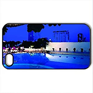 Blue Night - Case Cover for iPhone 4 and 4s (Modern Series, Watercolor style, Black)