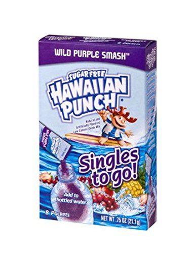 Hawaiian Punch Singles To Go Powder Sticks Water Drink Mix Wild Purple Smash 96 Single Servings Pack of 12