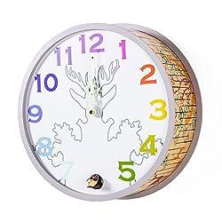 Modern Cuckoo Clock 12-Inch Large Wooden Decorative Luminous Clock, Silent Quartz Analog Wall Clock by Kintrot