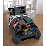 5 Piece Kids Black Star Wars Theme Comforter Twin, Starwars Millennium Falcon R2-D2 C-3PO Bedding, Light Saber Death Star Darth Vader Luke Skywalker Yoda Movie Series Character Plush, Polyester