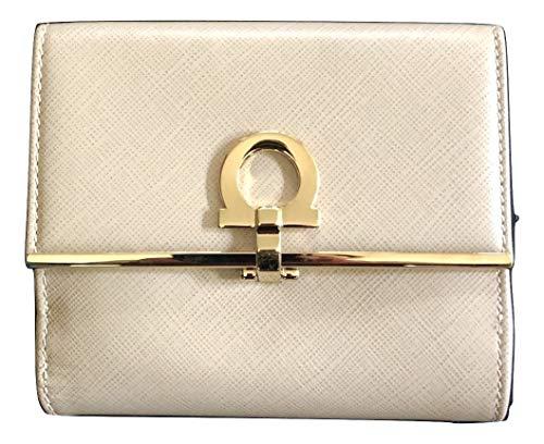 Salvatore Ferragamo French Icona Saffiano Leather Bifold Walllet Light Beige