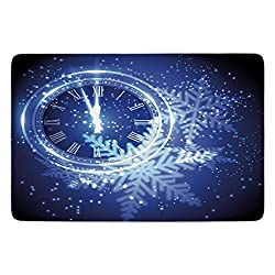 Bathroom Bath Rug Kitchen Floor Mat Carpet,Clock Decor,Countdown to New Year Theme A Clock Holiday Lights and Snowflakes Pattern Design,Blue,Flannel Microfiber Non-slip Soft Absorbent