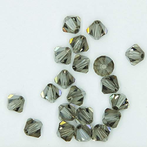 (Black Diamond Satin Gray 4mm Swarovski Crystal Beads. Bicone. Made in Austria. Pack of 20)