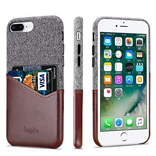 Lopie [Sea Island Cotton Series] Slim Card Case Compatible for iPhone 7 Plus and iPhone 8 Plus, Fabric Protection Cover with Leather Card Holder Slot Design, Dark Brown