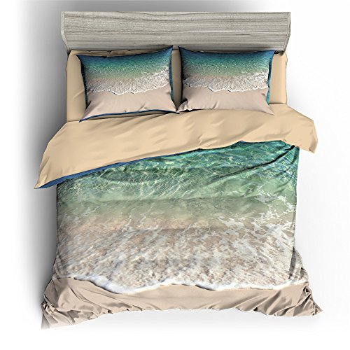 BOMCOM 3D Digital Printing Smooth Beige Sand Wave Bubbles on the Beach 3-Piece Duvet Cover Sets 100% Microfiber Emerald, Turquoise Color(king, Waves Lap against the Sands)