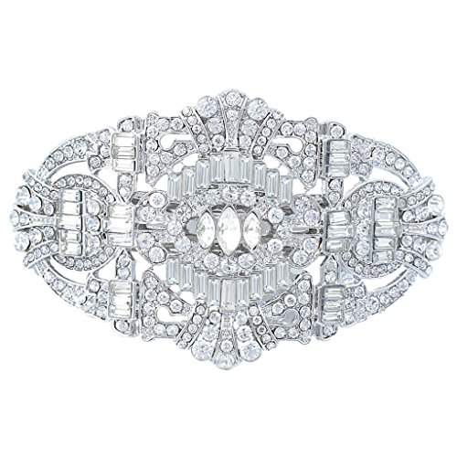 EVER FAITH 1920's Style Bride Hair Barrette Art Deco Clear Austrian Crystal Silver Tone