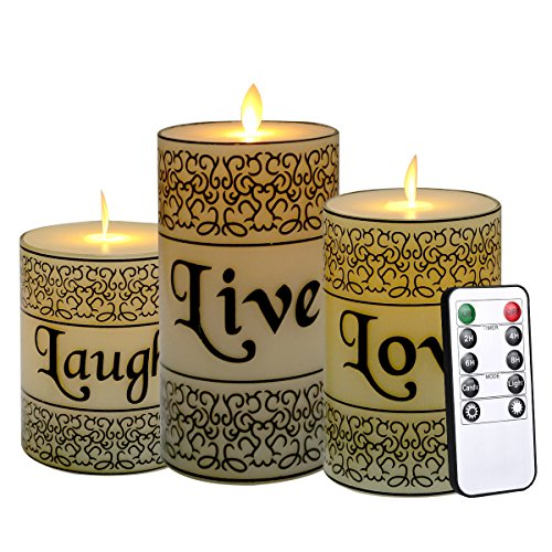 YAMATE 3 PCS LED Flameless Candle Tea Light, Battery Operated, Flickering Realistic Dancing Mood Candles-Equipped with 10 Key Remotes Control for Party and Wedding Decorations (White Character)]()