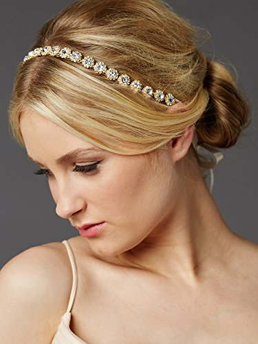 Mariell Gold Wedding Bridal Headband with Round Clear Crystals and Ivory Ribbons