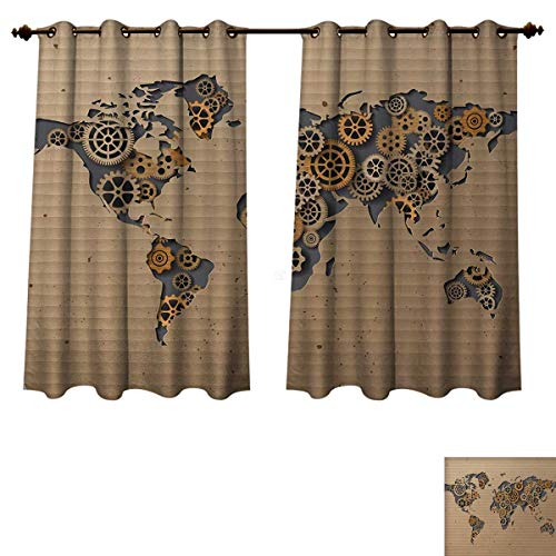 Anzhouqux Modern Blackout Thermal Curtain Panel Ancient Old Hipster Contemporary Image of World Map with Clock Wheel Art Print Patterned Drape for Glass Door Grey and Brown W72 x L63 inch