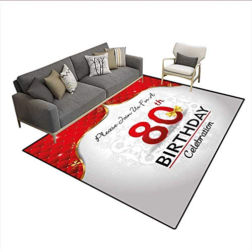 Carpet,Birthday Party Invitation with Abstract Floral Backdrop Elderly,Print Area Rug,Red Silver and Golden 6'6