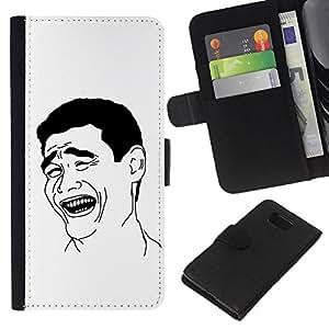 KingStore / Leather Etui en cuir / Samsung ALPHA G850 / El hombre de la sonrisa Riendo Arte Negro Blanco Ironía Cita