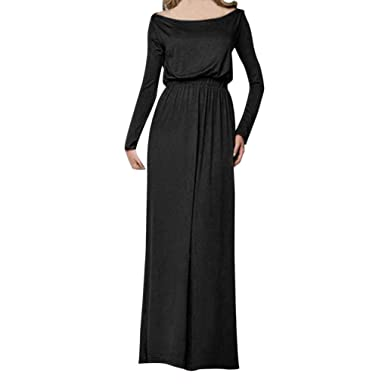 MOONHOUSE ❤ ❤ Women Long Maxi Dress Sexy Solid Tank Long Sleeve Evening Loose