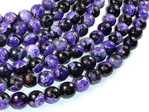 Bead Jewelry Making Art Craft Agate Beads, Purple & Black, 10mm Faceted Round, 15.5 Inch