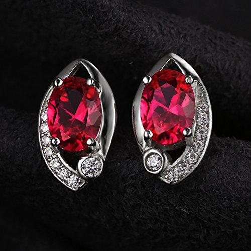 JewelryPalace Magnifique Bague Boucles d'Oreilles Collier 45cm Pendentif Bracelet Ensemble Rouge Oeil en Argent Sterling 925 en Rubis de Synthèse
