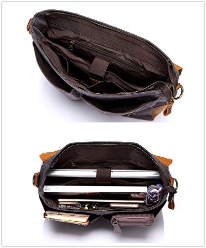 Vaschy Messenger bag for men, Vintage Leather Canvas Satchel 14in Laptop Crossbody Shoulder Bag by Vaschy (Image #3)