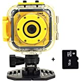 Children Sports Action Camera HD Waterproof Children Action Cam for Kids 1.77 LCD Digital Video Camcorder Screen Boy Girl Christmas Birthday Christmas Holiday Gift Toy (Yellow 16GB TF Card Inlcuded)
