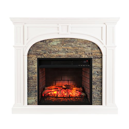 (Southern Enterprises Timothy Infrared Electric Fireplace, White Finish with Faux Stone)