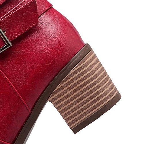 VogueZone009 Damen Reißverschluss Mittler Absatz Rein PU Leder Rund Zehe Stiefel Rot