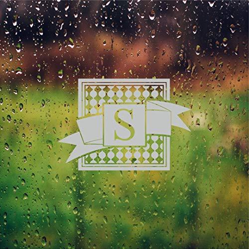 Ribbon Monogram Etched Glass Vinyl Sliding Front Shower Office Window Door Decal Stickers Sticker