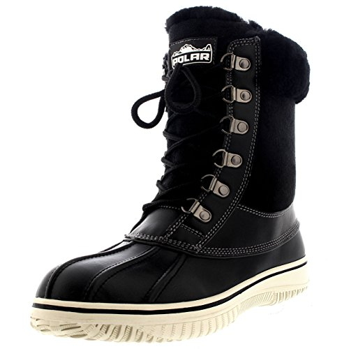 Polar Womens Snow Winter Genuine Australian Sheepskin Cuff Walking Shoe Boot - Black - US10/EU41 - YC0467