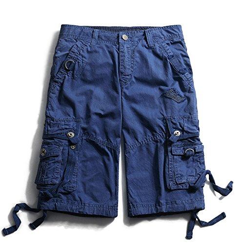 OCHENTA Men's Cotton Loose Fit Multi Pocket Cargo Shorts #3233 Sapphire Blue -