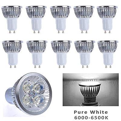 10pcs Pack 12V 4W GU10 LED Bulbs - 6000K Daylight Spotlight - 330 Lumen, 35Watt Equivalent - 45 Degree Beam Angle for Landscape, Recessed, Track lighting