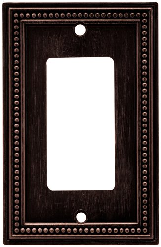 - Brainerd 64405 Beaded Single Decorator Wall Plate / Switch Plate / Cover, Venetian Bronze