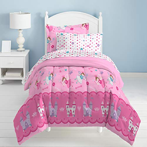 5 Piece Kids Girls White Purple Pink Fairy Themed Comforter Twin Set, Magical Castles Bedding Hearts Flowers Fairies Flying Princess Themed Wands Plaid Stars Majestic Teal Blue, Polyester Microfiber