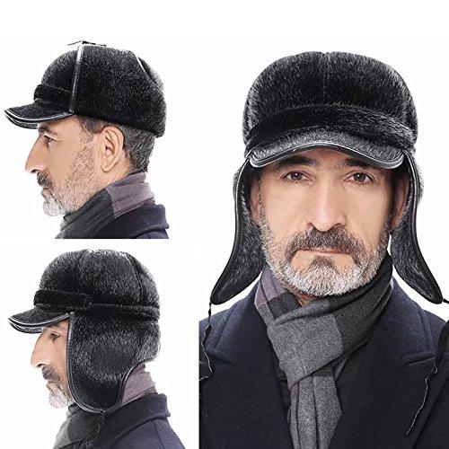 ピカリングアルプス純粋なKayiyasu ロシア帽 メンズ 毛皮帽子 防寒キャップ 裏起毛 ファー帽子 耳あて付き 2way 耳カバー 男性用 フェイクミンク フライトキャップ 021-yezz-023(56-60cm ブラック )