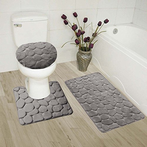 3pc Bath Rug Set Memory Foam Non-Slip Bathroom Rug Contour, Mat and Toilet Lid Cover Grey New