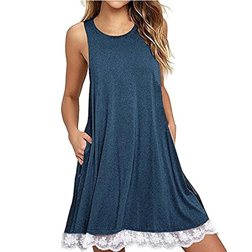 Tootu Casual Loose T-Shirt Dress, Women Lace Sleeveless Above Knee Dress Loose Party Dress (XXL, Blue)
