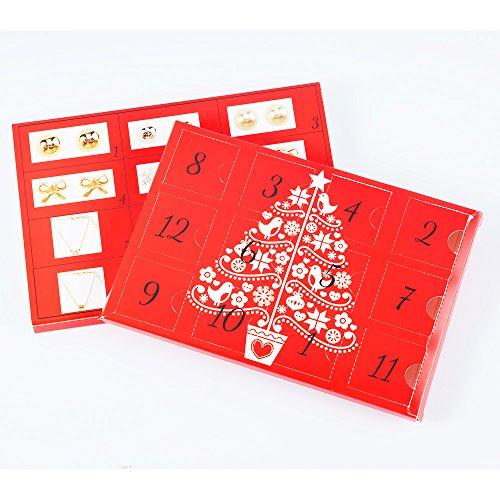 Mouttop 1 Calendario de Adviento, 24 Abalorios DIY Collar Pulsera Conjunto joyería de Moda Fiesta de Navidad (Rojo-2),...