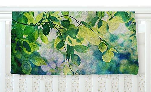 KESS InHouse Sylvia Cook Leaves Teal Green Fleece Baby Blanket 40 x 30 [並行輸入品]   B077YW9JPR