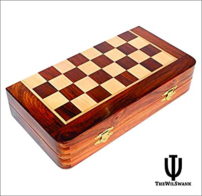 Premium TheWilSwank 10 x 10 Inch Chess Set - Best Handmade Wooden Rosewood 10x10 Inch Foldable Magnetic Chess Game Board with Storage Slots. 100% Satisfaction Guarantee