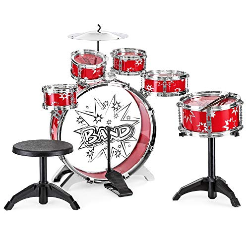Best Choice Products 11-Piece Kids Starter Drum Set w/Bass, Tom Drums, Snare, Cymbal, Stool, Red