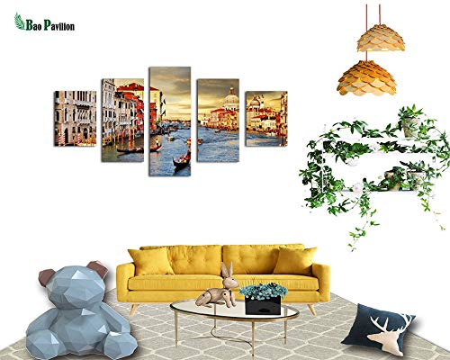 Callula & Partner Canvas Prints Painting Wall Art 5 Piece City on The River Hanging Picture Decoration for Home Office