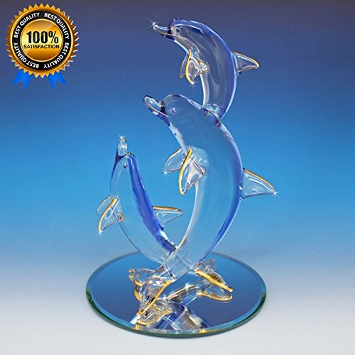 3 Large Collectible Dolphins Dancing The Wave Tango 22K Gold Hand-Blown Glass Figurine ()