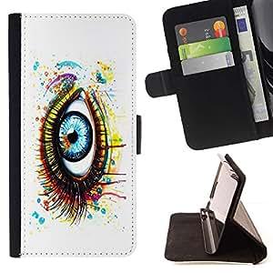 For Sony Xperia Z5 (5.2 Inch) / Xperia Z5 Dual (Not for Z5 Premium 5.5 Inch) Case , Pintado de ojos- la tarjeta de Crédito Slots PU Funda de cuero Monedero caso cubierta de piel