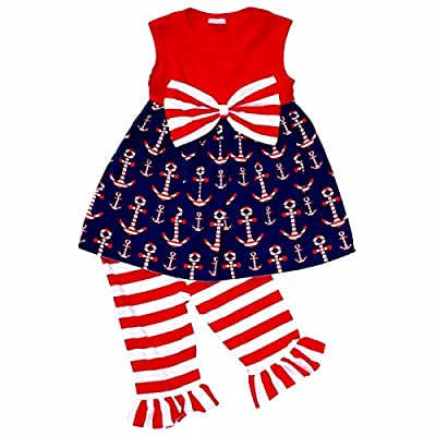 Unique Baby Girls 4th Of July Patriotic Anchors Boutique Outfit