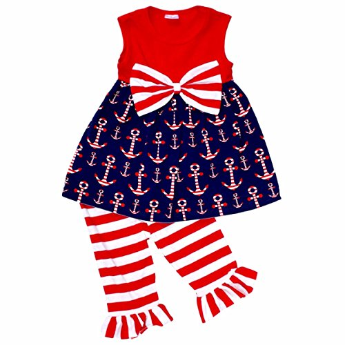 Unique Baby Girls 4th of July Patriotic Anchors Boutique Outfit (3T/S, (Girls Fourth Of July Outfits)