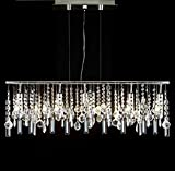 Modern Contemporary Linear Chandelier Lighting Lamp W/ Crystal H58″ X W38″