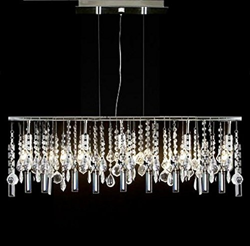 Modern Contemporary Linear Chandelier Lighting Lamp W/ Crystal H58