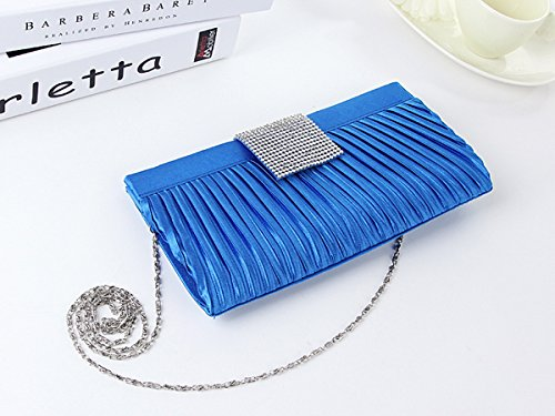 WYZ Luxus Bling Damentasche Tasche Clutch Handtasche Abendtasche 4 Farben Brauttasche mit Strass Kette fuer Hochzeit Party Red WYiOCUVgO