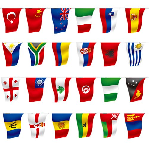 Bloomeet 164 Feet 8.2'' x 5.5'' 200 Countries International String Flag Banners Rectangle World Flags Decoration for Soccer Match Sports Clubs Grand Opening Festival Party Event Celebration
