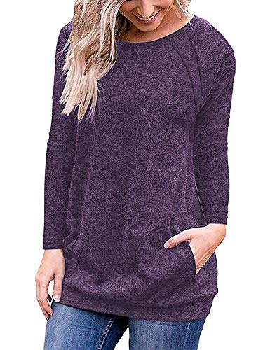 - URRU Women Long Sleeve O Neck Tunics T-Shirts Loose Fit Tops Casual Blouses with Side Pockets Purple XL