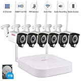 【Audio Recording】 Tonton 1080P Full HD Security Camera System Wireless,8CH NVR Kit with 1TB HDD and 6PCS 2.0MP Outdoor Bullet IP Metal Housing Cameras with PIR Sensor,Auto-Pair,True Plug and Play