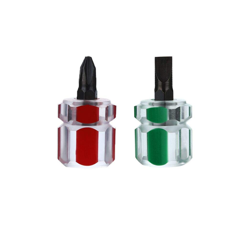 Xindda 2pcs/Set Mini Short Stubby Phillips Slotted Screwdriver Tools Kit Set Useful