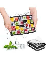 Rosikato 2pack ijsblokjesvorm met deksel, BPA-vrije siliconen ijsblokjesvormen, gemakkelijk los te maken, flexibel, herbruikbaar voor gekoelde dranken en babyvoeding, soep, cocktail, whisky