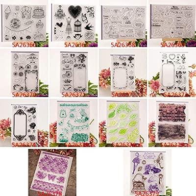 Hoja de sellos de silicona transparente Scrapbooking Estampado en relieve Transparente Sello adhesivo para DIY Álbum de fotos Papel Tarjeta de ...