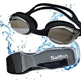 Sailfish Swim Goggles - Anti Fog - Mirror Coating - Latex Free - Adjustable Strap - Clear Vision - No Leak Design - Free Protective Case - for Adults, Men, Women, Youth, Kids 5+